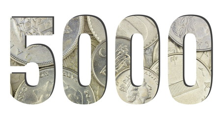 5000 3d Number Shiny silver coins textures for designers. White isolated