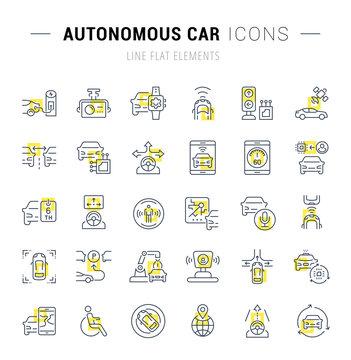 Set Vector Line Icons of Autonomous Car.