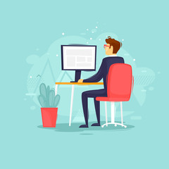 Businessman sitting at computer, office, interior, character. Flat design vector illustration.