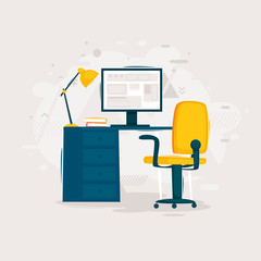 Workplace in the office, interior. Flat design vector illustration.