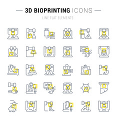 Set Vector Line Icons of 3D Bioprinting.