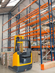 Forklift loading pallet for transport business delivery Shelves in Distribution Warehouse