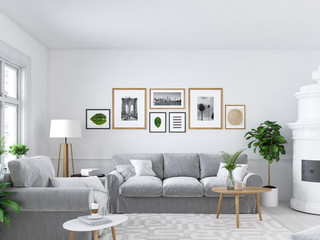 living room with picture frames and fireplace. 3d rendering