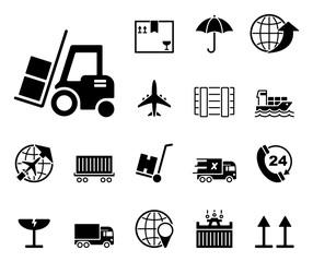 Logistik & Vertrieb - Iconset (in Schwarz)