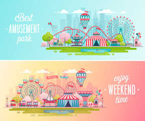 Amusement park landscape banners with carousels, roller coaster and air balloon.