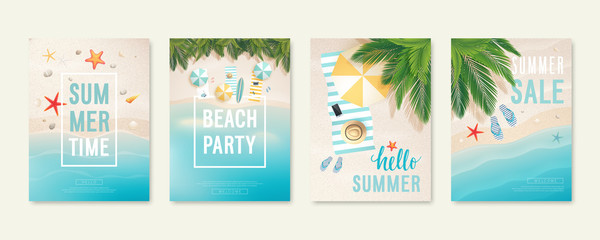 Tropical beach cards with sand, sea and palm trees. Summer flyers with starfish, flip flops and beach umbrellas. Fotomurales