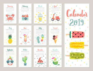 Wall Mural - Calendar 2019. Cute monthly calendar with lifestyle objects, fruits, and plants.
