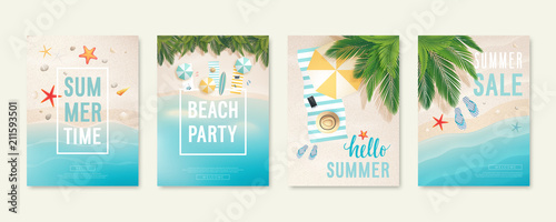 Wall mural Tropical beach cards with sand, sea and palm trees. Summer flyers with starfish, flip flops and beach umbrellas.