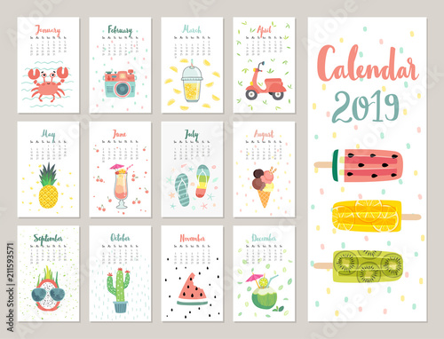 Wall mural Calendar 2019. Cute monthly calendar with lifestyle objects, fruits, and plants.