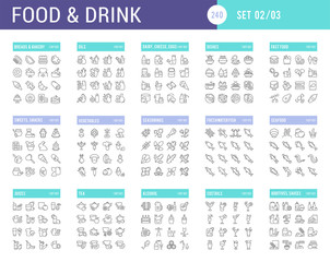 Collection Linear Icons of Food and Drinks