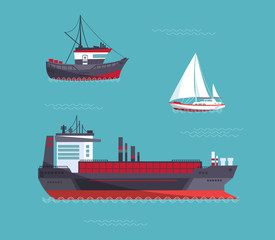 A yacht, a cargo ship, a fishing vessel in one collection. Vector illustration.