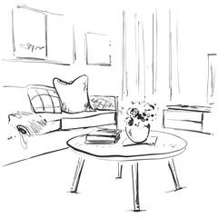 Living room graphic black white interior sketch illustration. Furniture