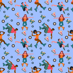 Seamless pattern with young people on roller skates and wheels isolated on blue background. Vector flat illustration. Wrap for sport goods, wallpaper in shop of rollers, focused on extreme athletes.