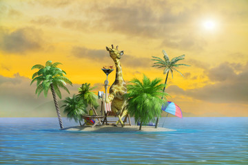 3D Illustration of a funny giraffe resting at the resort on the beach, as a symbol of tourism