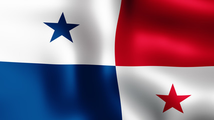 3D rendering. Flag of Panama, fluttering in the wind. It is different phases of the movement close-up flag in the wind.