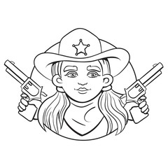 Outline isolated vector round illustration with young girl in sheriff hat and two revolvers in her hands.Can used for coloring book, printing on clothes, banners, posters, web design.