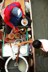 Floating market in Thailand selling paste of noodle