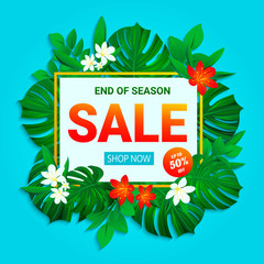 Sale banner. Summer sellout poster. Floral jungle background with exotic tropic flowers, leaves. End of the season discount vector design for shop, business, web page with text. trendy tropical style