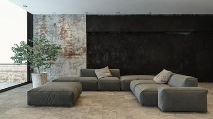 Wohnzimmer mit grauer Couch und Steinwand