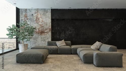 """steinwand wohnzimmer video, wohnzimmer mit grauer couch und steinwand"""" stockfotos und, Design ideen"""