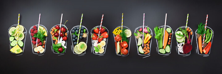 Photo sur Plexiglas Nourriture Food ingredients for blending smoothie or juice on painted glass over black chalkboard. Top view with copy space. Organic fruits, vegetables. Vegetarian, vegan, detox, clean eating concept