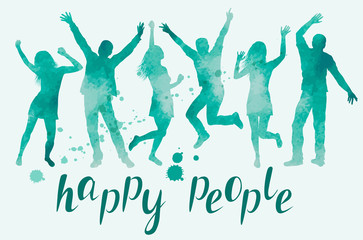 Watercolor Illustration with happy people silhouettes