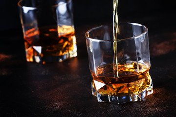 Whiskey Pour In Glass, Dark Background, Selective Focus