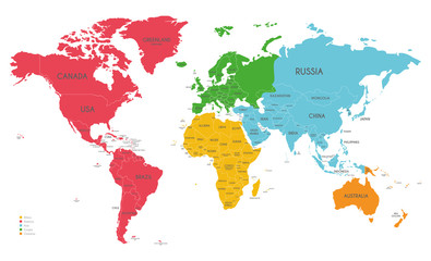Foto auf AluDibond Weltkarte Political World Map vector illustration with different colors for each continent and isolated on white background. Editable and clearly labeled layers.