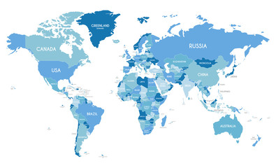 Stores à enrouleur Carte du monde Political World Map vector illustration with different tones of blue for each country. Editable and clearly labeled layers.
