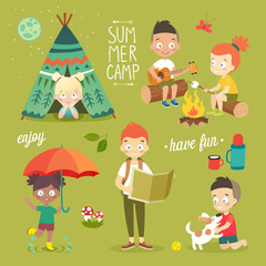 Wall Mural - Summer camp Kids set, enjoying nature, playing and having fun.