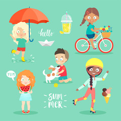 Wall Mural - Summer Kids set, riding bicycle, playing and having fun.