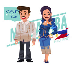 Filipino couple in traditional costume style. Philippines character design - vector