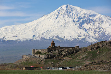 The best view on Hor Virap Monastery with Ararat Mount in background in Armenia.