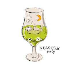 cocktail for Halloween,Green halloween cocktail, cocktail with eyes