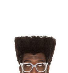 portrait of young thoughtful handsome afro american guy stylish hipster, isolated on white background