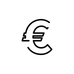 Euro currency symbol icon.