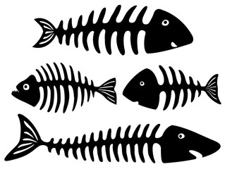 Black and white art with isolated cartoon fish bones