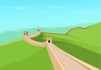 Great Wall of China in flat vector design