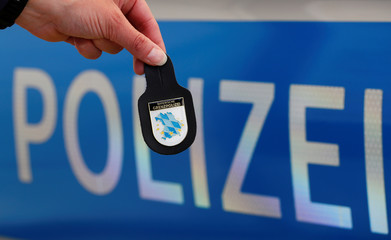 The logo of the newly created Bavarian border police department is pictured following the department's inauguration in Passau