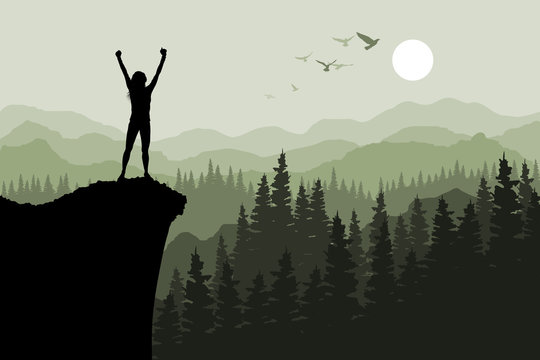 Human standing on the top of mountain