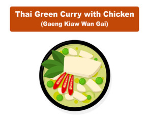 Thai green curry with chicken, Top view vector art