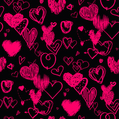 Dark background with hearts. Abstract seamless wallpaper of the surface. Hand drawn love signs. Line art. Print for banners, posters, flyers and textiles