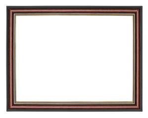 Brown wooden frame with a black border outside and golden inside, isolated on a white background