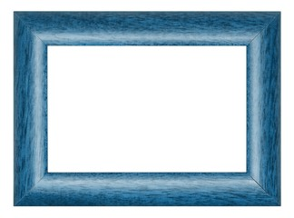 Painted in blue wooden picture frame isolated on white background