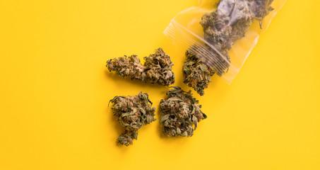 Marijuana buds for sale close-up.