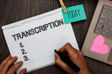 Text sign showing Transcription. Conceptual photo Written or printed process of transcribing words text voice Appointment daily graph paper love lovely hart laptop notebook netbook.