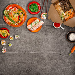 Various of asian meals on rustic background , top view , place for text.