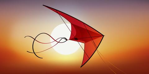 cerf volant - vacances - jeu de plein air - concept - loisir - plein air - symbole - liberté - coucher de soleil
