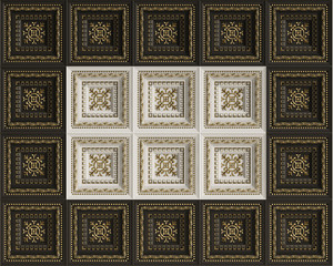 Classic interior flat caisson ceiling.White,black and gold decoration