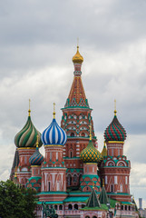 Saint Basil's Cathedral on the sky background with clouds. Moscow